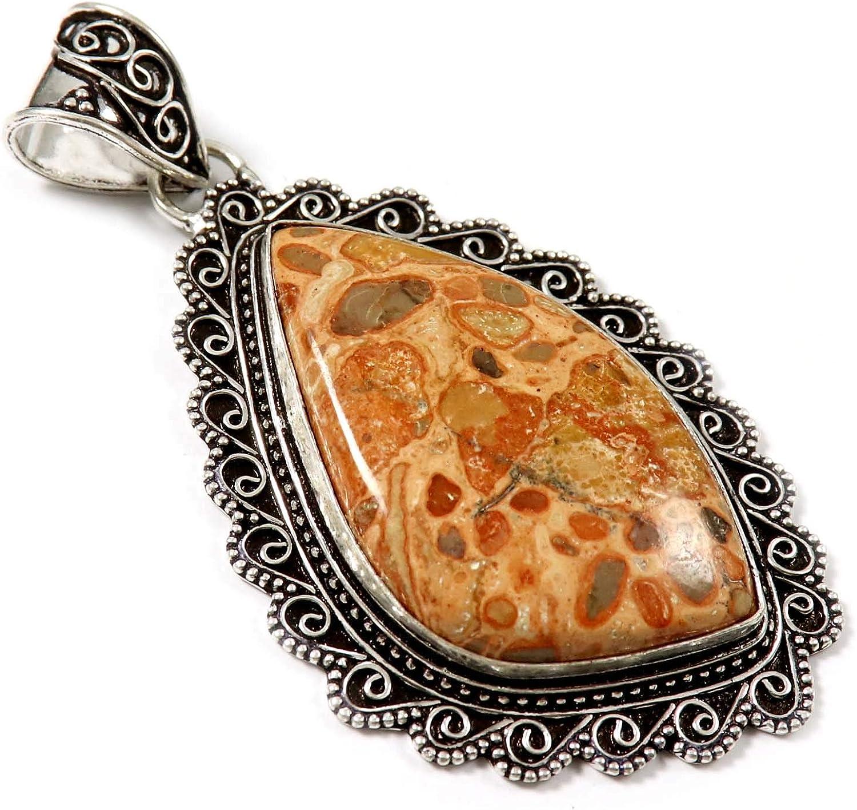 Goyal Crafts GPAF14 - Colgante de jaspe de leopardita bañado en plata con gema natural