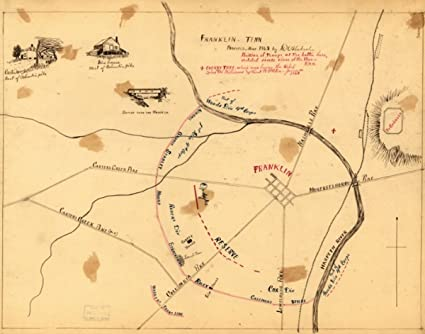 Amazon Com 1863 Civil War Map Battle Of Franklin Tennessee