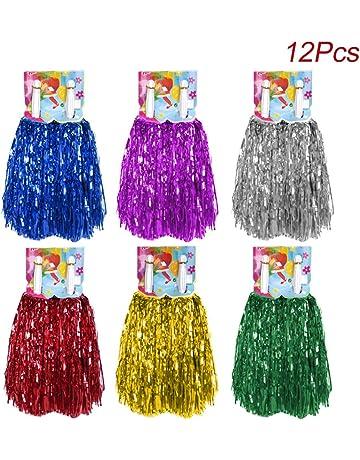 Fleurs Majorette Cheerlead Pom Poms Girl pour des Sports /À Votre sant/é Ballon Danse Fantaisie Robe Soir/ée 6pouce AUHOTA 2Pcs Plastique Cheerleading Pompons avec Poign/ée