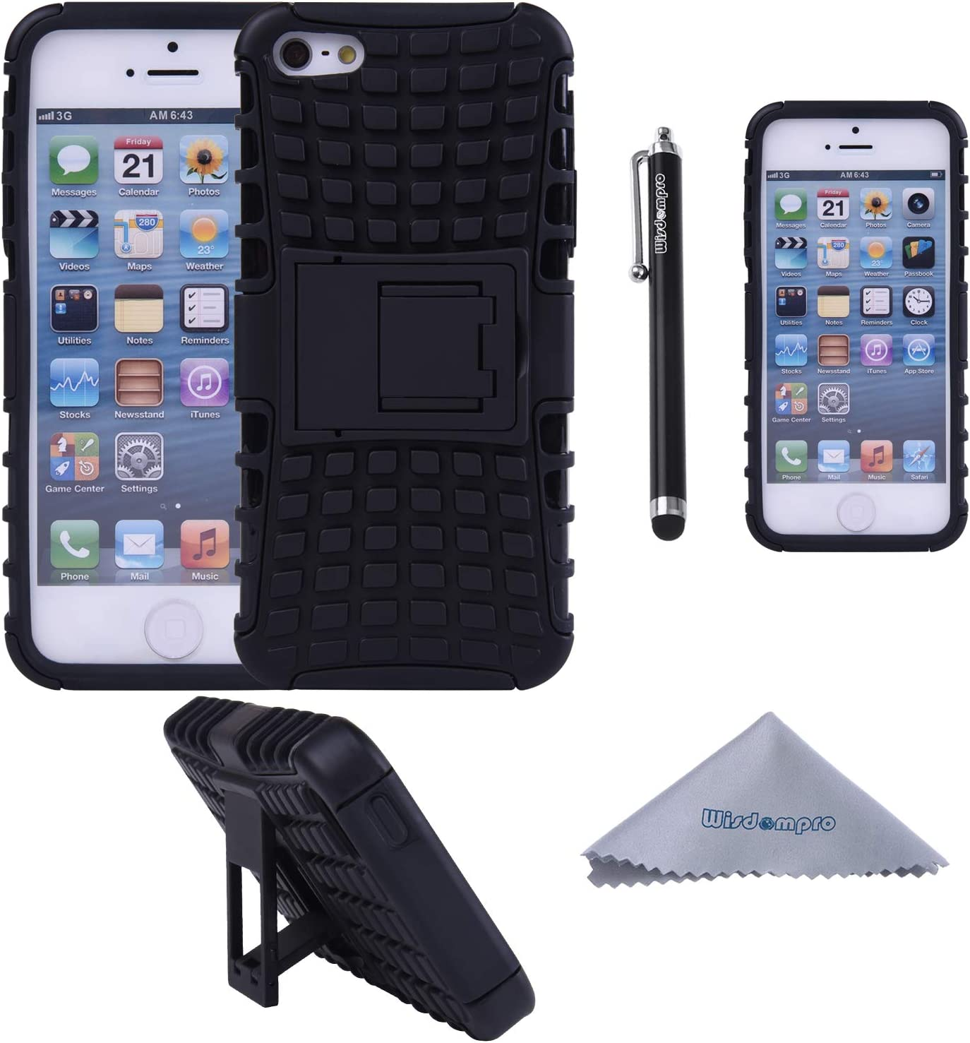 iPhone SE 2016 Case, iPhone 5s 5 Case, Wisdompro 2 Piece in 1 Dual Layer Heavy Duty Hard Soft Hybrid Rugged Protective Case with Foldable Kickstand for Apple iPhone 5/5s/SE 1st Generation- Black/Black