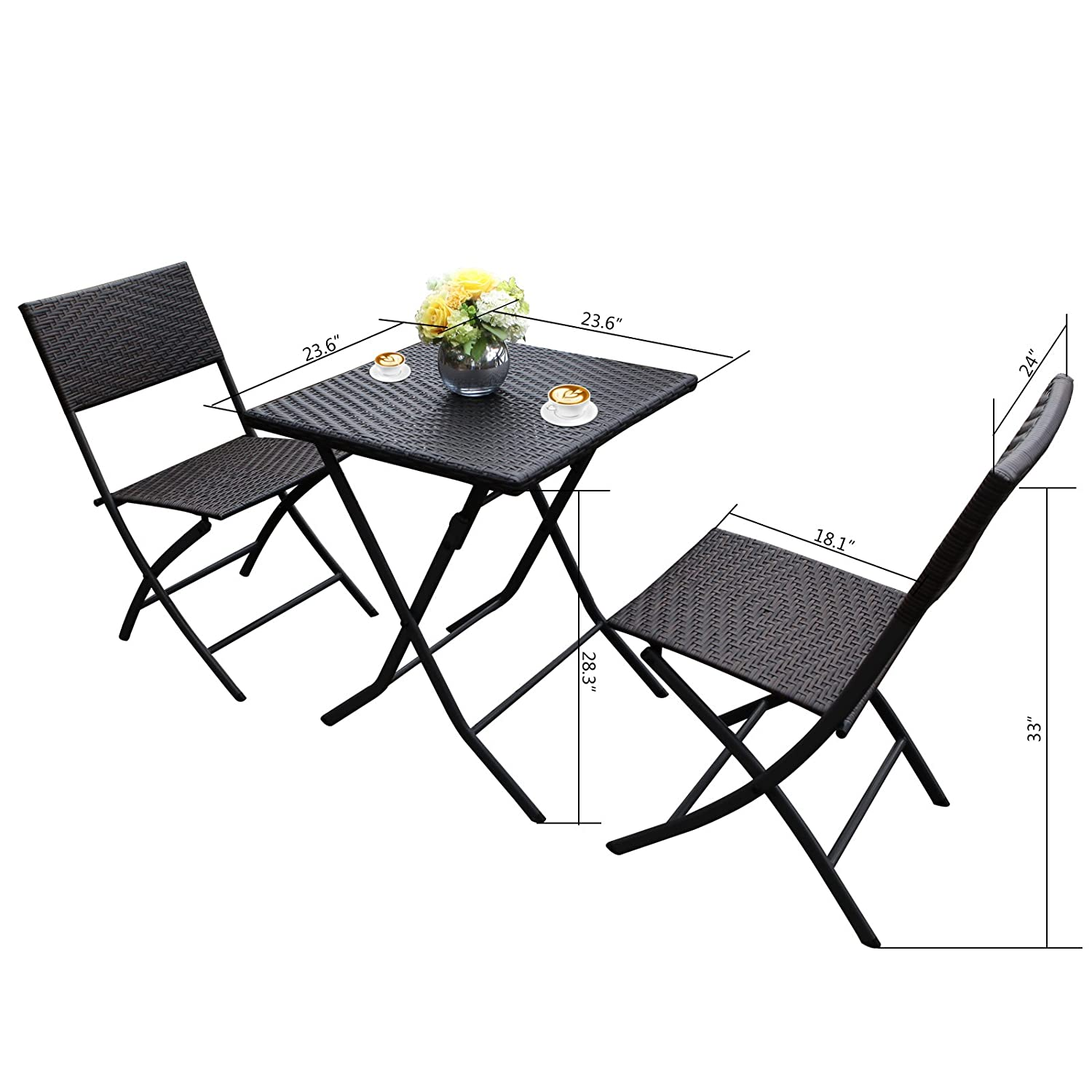 Amazon H&L Patio Resin Rattan Steel Folding Bistro Set Parma