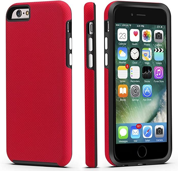 CellEver iPhone 6 / 6s Case, Dual Guard Protective Shock-Absorbing Scratch-Resistant Rugged Drop Protection Cover for Apple iPhone 6 / 6S (4.7 Inch) (Red)