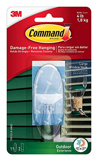 Command Outdoor Window Hook R43R31, Large, Clear, 6-Hook