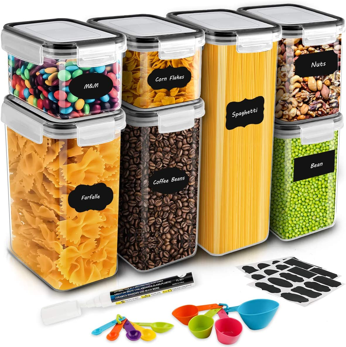 Airtight Food Storage Containers, MOICO 7 PC Plastic Cereal Storage Container with Lids BPA Free, 24 Labels, Spoon Set & Pen, Pantry & Kitchen Storage Containers for Flour, Dry Food, Pasta