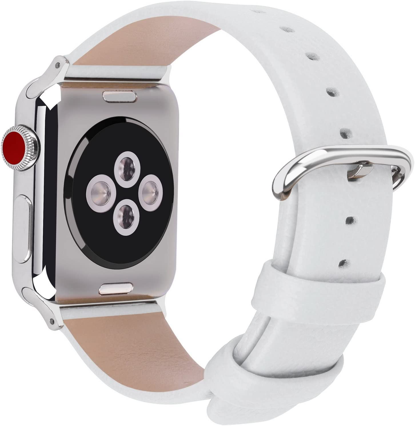 Fullmosa Correa Compatible Apple Watch 44mm 42mm 40mm 38mm, YAN 15 Colores Correa Cuero Pulsera para iWatch Series 5 4 3 2 1, Blanco 38mm 40mm