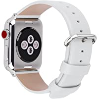 Fullmosa Compatible iWatch Bands 38mm 40mm 42mm 44mm Women Calf Leather Compatible Apple Watch Strap Bands Compatible Apple Watch Series 4 Series 3 Series 2 Series 1, 38mm 40mm White