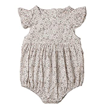 b0c801be2887 Amazon.com  Newborn Baby Girl Romper Floral Print Vintage Jumpsuit ...