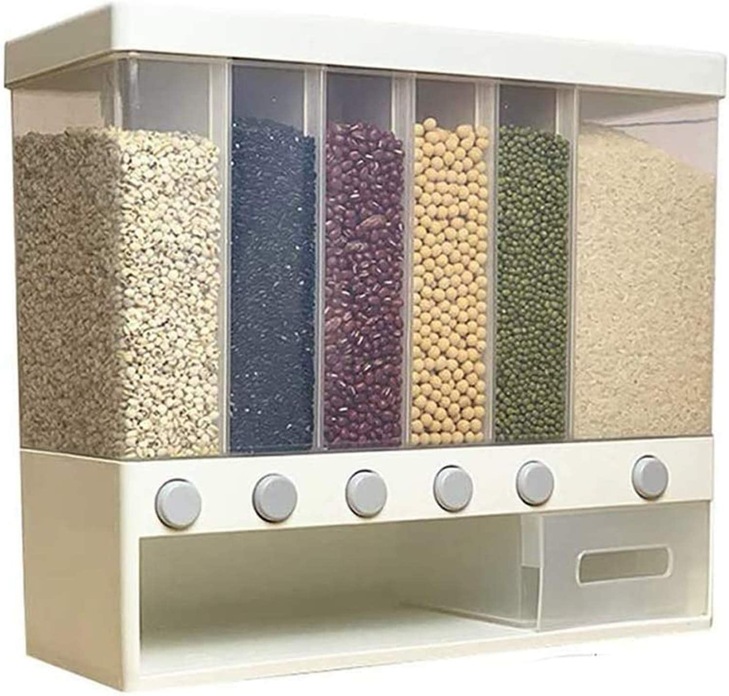 Dry Food Dispenser Wall Mounted Cereal Dispenser Rice Storage Box Large Cereal Containers Space Saving Grain Storage Containers for Cereal, Rice, Nuts, Candy, Coffee Bean, Snack, Grain