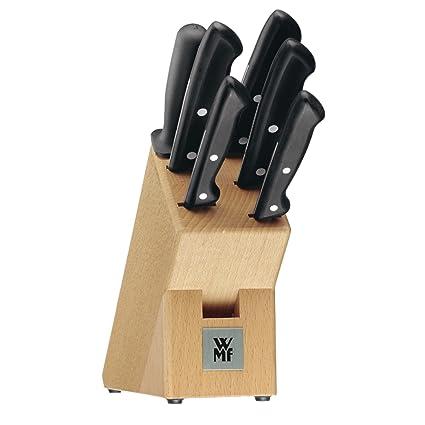 WMF Juego de cuchillos con bloque de madera, 7 piezas, colección Classic Line
