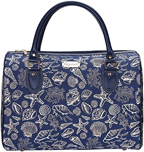 ignare Tapestry Duffle Bag Overnight Bags Weekend Bag for Women with Navy Blue Sea Shell TRAV-SHELL