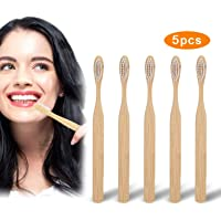 Sendowtek 5 Cepillos de Dientes de Bambú, Cepillo Dental para Adultos 100% Natural, Orgánico, Biodegradable y Ecológico con Cerdas Extrafinas Suaves