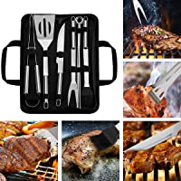 Barbecue Grill Tools Set, 9 Piece Stainless Steel BBQ Accessories with Storage Bag Men Women Outdoor Grilling Kit for…