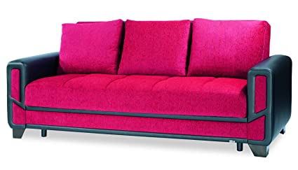 Amazoncom Casamode Mondo Modern Sofa Bed Red Chenille Kitchen