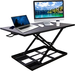 HATISS Height Adjustable Standing Desk Converter, 32''X22'' Laptop Computer Workstation with Fully Assembled, Sit to Stand Up Desk Ergonomic Air Riser Large Rising for Home and Office