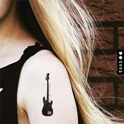 Guitarra musical etiqueta engomada falso temporal del tatuaje (Juego de 2) - www.