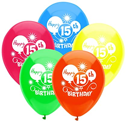 PartyMate 24632 Printed Latex Balloons 8 CT 15th