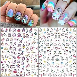 Unicorn Nail Art Stickers for Women Girls Fingernail Decorations 4 Sheets 3D Nail Self-adhesive Nail Decals Rainbow Unicorn Cute Nail Beauty Supplies Nail Art Design DIY Manicure Tips Decor