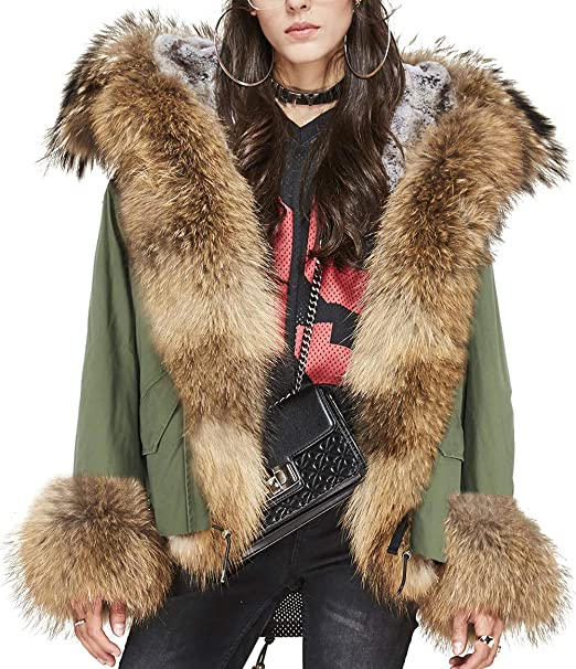 Amazon.com: s. romza mapache y cuello de pelo – Abrigo con ...