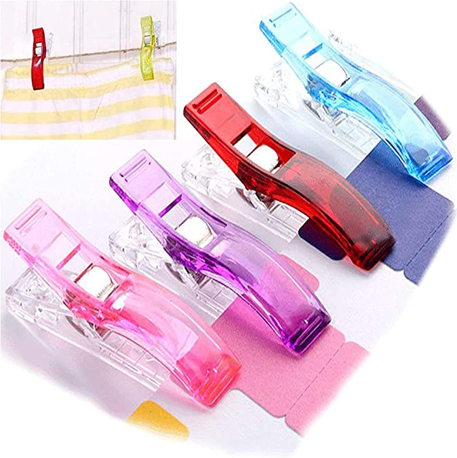 40 PCS Assorted Color Multipurpose Large Sewing Clips,Fabric Clips,Sewing Craft Clips for Quilting,Crafts,Fabric,Crochet,Knitting,Hanging Small Things
