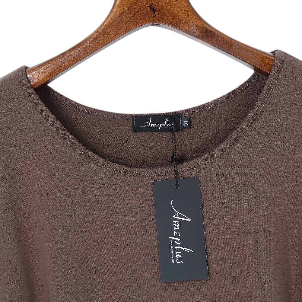 AMZ PLUS Casual T-Shirt Scoop Neck Long Sleeve Asymmetrical Hem Plus Size Blouse Top
