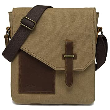 2a18402156719 Amazon.com | Small Messenger Bag, VASCHY Vintage Canvas Leather Lightweight Crossbody  Bag | Messenger Bags