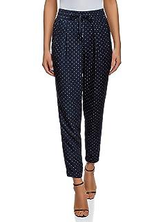 oodji Collection Femme Pantalon à Taille Élastique et Cordon de Serrage 85b25e4e0ba