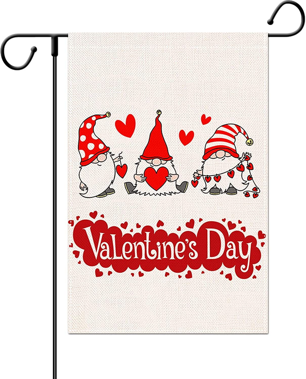 Delokey Valantines Day Garden Flag-12x18 Inch Gnomes Love Heart Double-Sided Valentine's Day Yard Burlap Banner for Home & Outdoor Decoration (Love Heart)