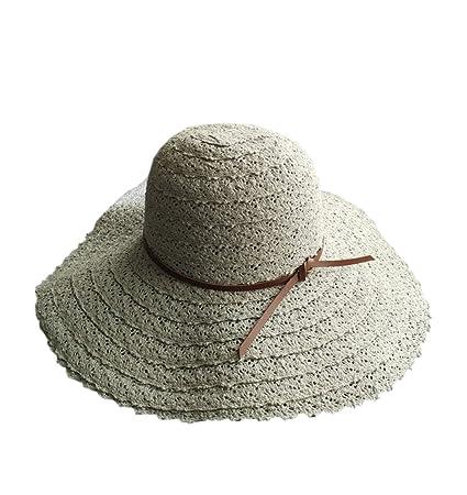 YueLian Cappello di Paglia con Visiera Grande Cappello Estivo con Pizzo ( Beige)  Amazon.it  Abbigliamento 50413a31080e