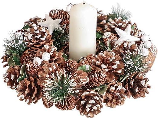 Mesa de comedor de Navidad Wreath portavelas centro de mesa W30cm ...