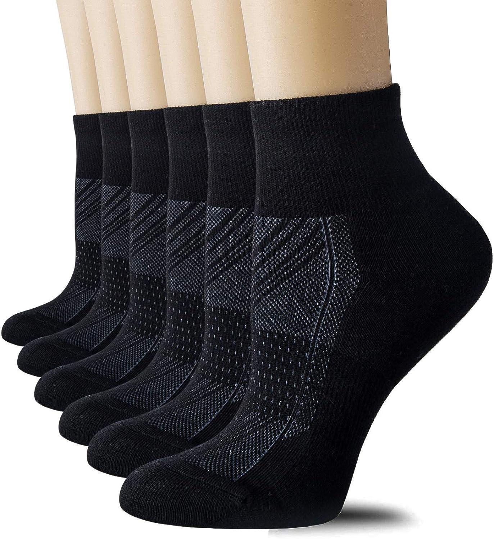 CelerSport 6 Pairs Women's Running Ankle Socks Athletic Sport Socks Cushioned