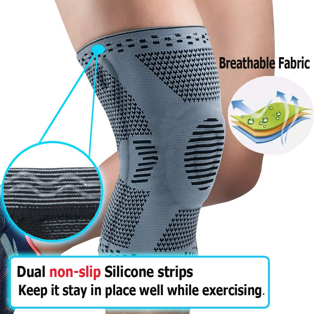 RGTOPONE Knee Brace Support with Side Stabilizers /& Patella Gel Pad Professional Upgraded Compression Sleeve Medical Grade Knee Protector for Men Women Meniscus Tear Running Workout Weightlifting Gym