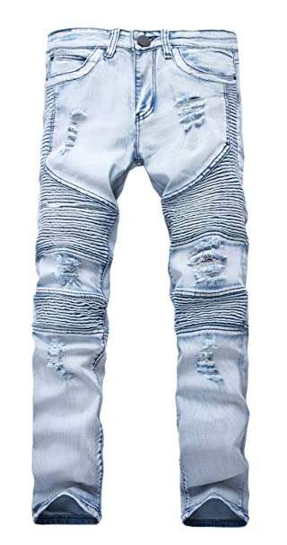 NITAGUT Mens Ripped Slim Straight fit Biker Jeans with Zipper Deco