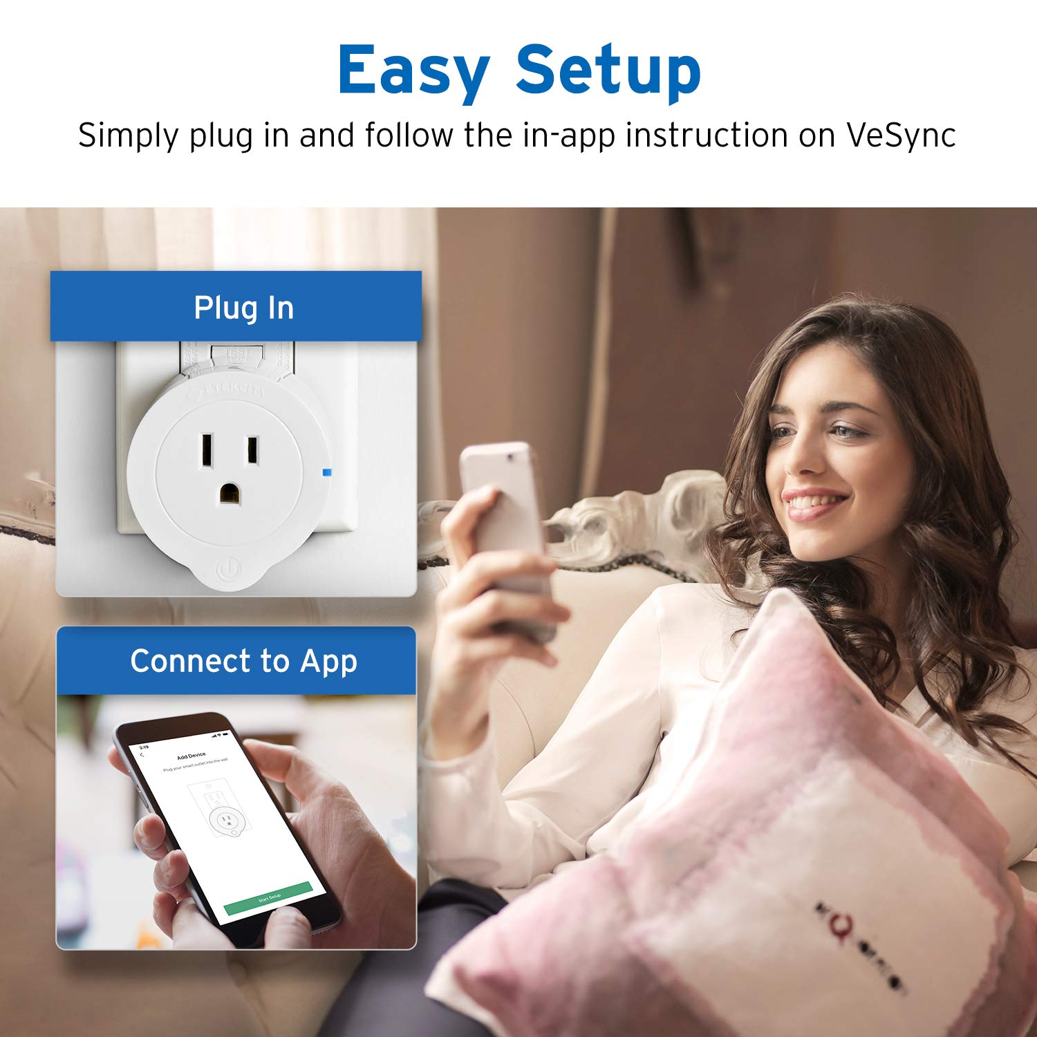 Etekcity Smart Plug, Works with Alexa, Google Home and IFTTT, Easy Setup,  WiFi Energy Monitoring Mini Outlet with Timer, No Hub Required, ETL Listed,