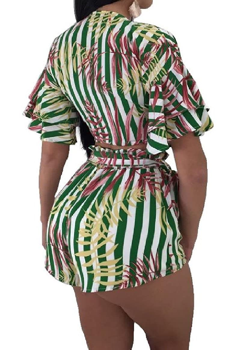 Tingwin Women 2-Piece Beach Irregular Knot Printing Shorts Outfit