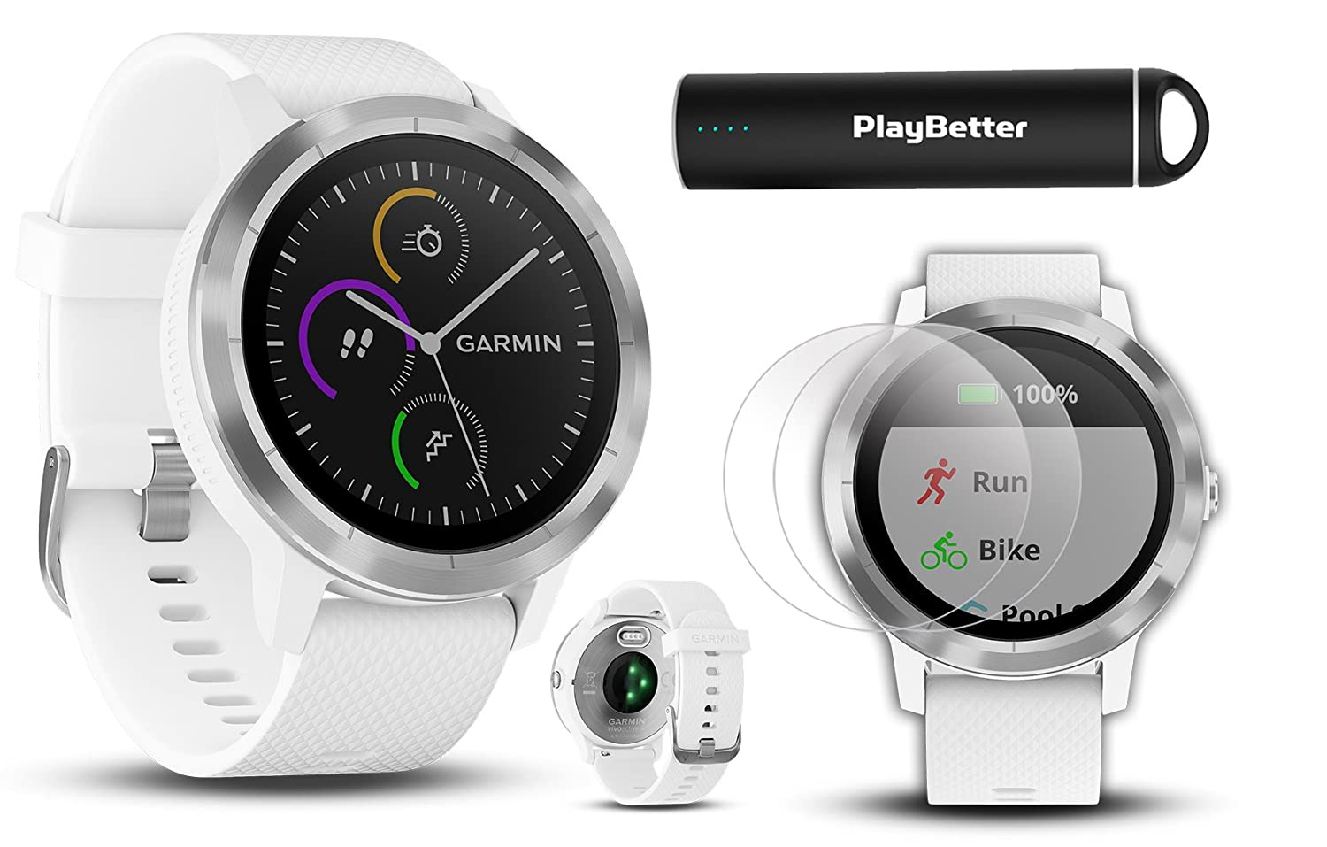 Garmin vivoactive 3 (White & Stainless) Fitness GPS Watch Power Bundle | with HD Screen Protector Film (x4) & PlayBetter USB Portable Charger | ...