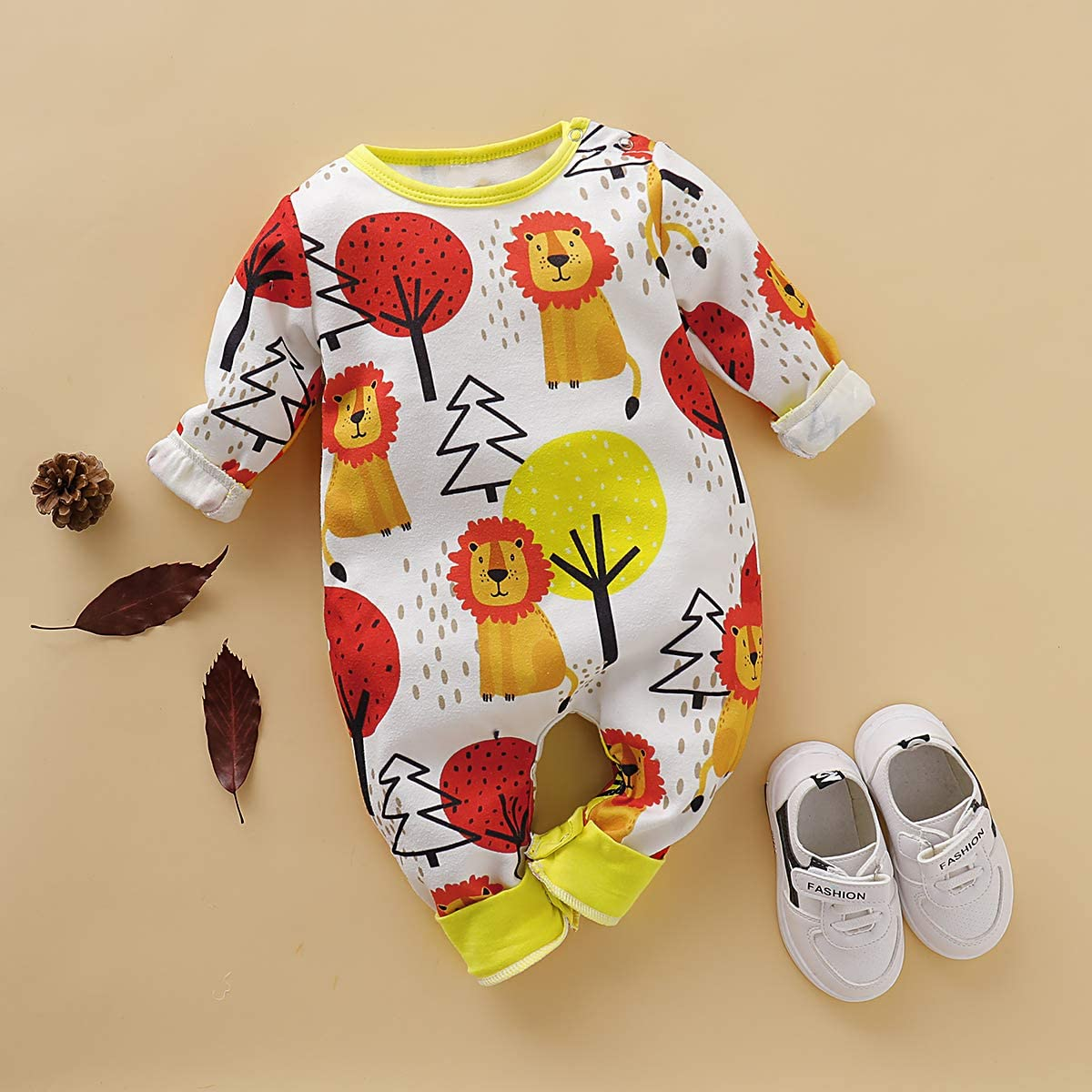 Borlai Newborn Fashion Clothes Cartoon Lion Tree Print Outfit Long Sleeve Bodysuit Onesies 0-18M