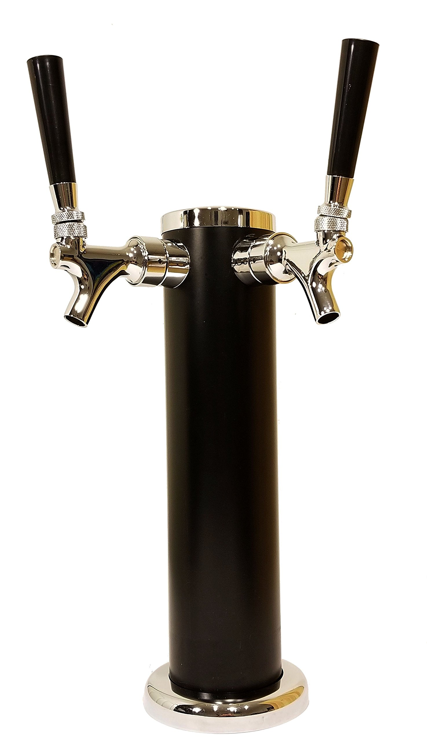 """DOUBLE TAP DRAFT BEER TOWER - 2-TAP BEER COLUMN 13"""" HIGH 3"""" DIAMETER - STAINLESS STEEL BODY WITH UNIQUE BLACK SATIN FINISH - CHROME FINISH FAUCETS - BEERGON BT-1000"""