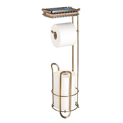 mDesign Portarrollos de pie para baño – Accesorios de baño sin taladro – Soporte para papel