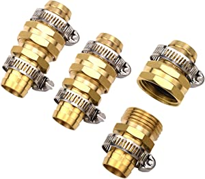 "3Sets Brass 3/4"" Garden Hose Mender End Repair Male Female Connector with Stainless Clamp"
