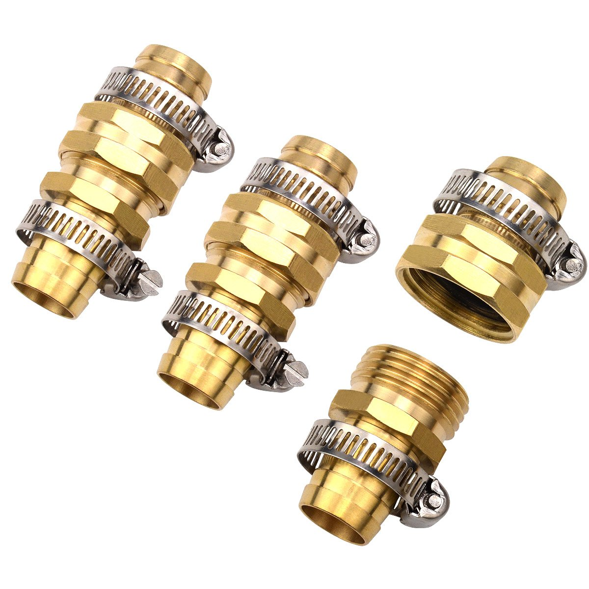 3Sets Brass 3/4'' Garden Hose Mender End Repair Male Female Connector with Stainless Clamp by Gardeningwill