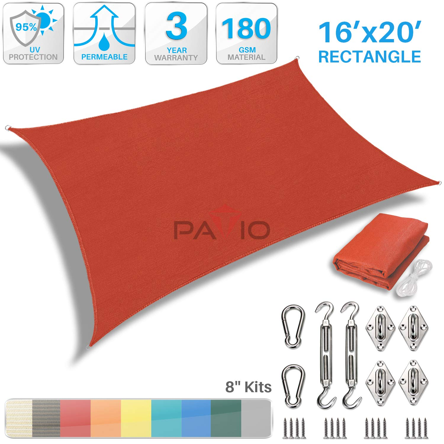 PATIO Paradise 16 x 20 Sun Shade Sail with 8 inch Hardware Kit, Red Rectangle Canopy Durable Shade Fabric Outdoor UV Shelter Cover – 3 Year Warranty – Custom