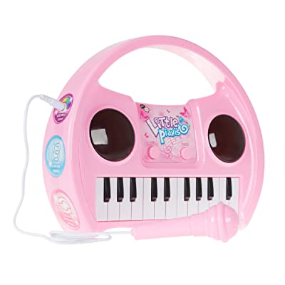 Kids Karaoke Machine with Microphone, Includes Musical Keyboard & Lights - Battery Operated Portable Singing Machine for Boys and Girls by Hey! Play!: Toys & Games