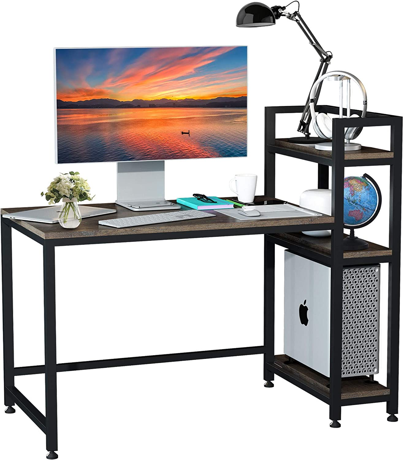 F&R Computer Desk with 3- Tiers Shelves, 54'' Modern Writing Study Desk with Printer Space for Teens, College Crafting Desk with Storage for Bedrooms, Home, Office, Workstation, Easy to Assemble, Wood