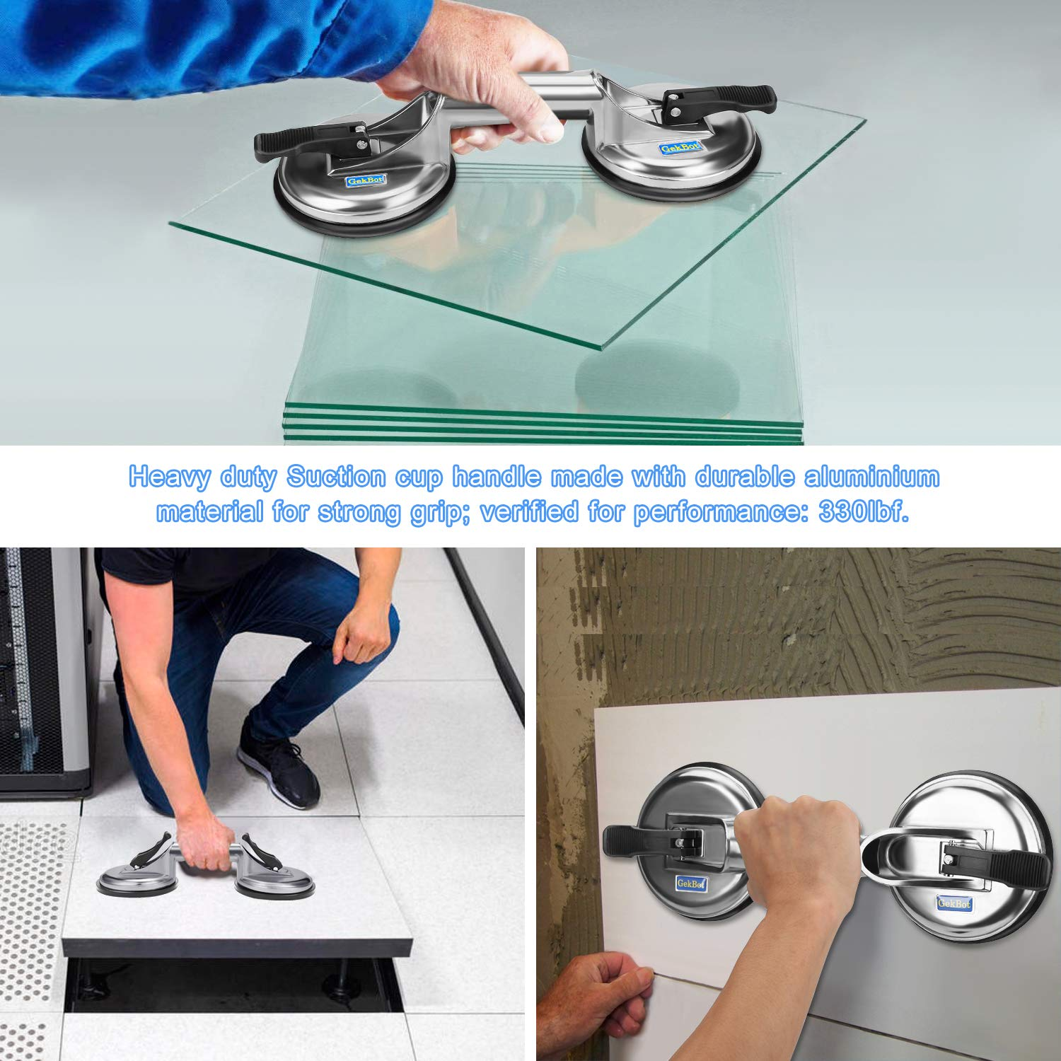 High Performance Suction Cup Lifter Heavy Duty Aluminum Double