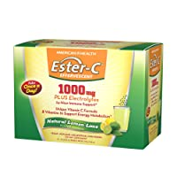 American Health Ester-C Effervescent Powder Packets, Natural Lemon Lime - 24-Hour...