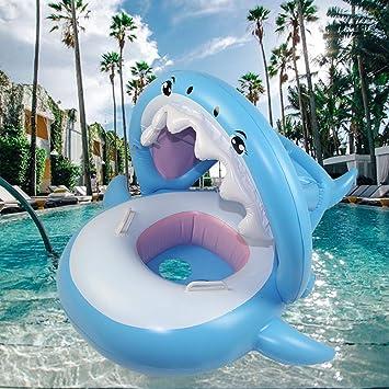 Beautifive Flotadores Piscina para Bebés, Tiburón Hinchable para Piscina con Toldo, Inflables Piscina Flotador Natación para Niños de 8 a 48 Meses de Edad