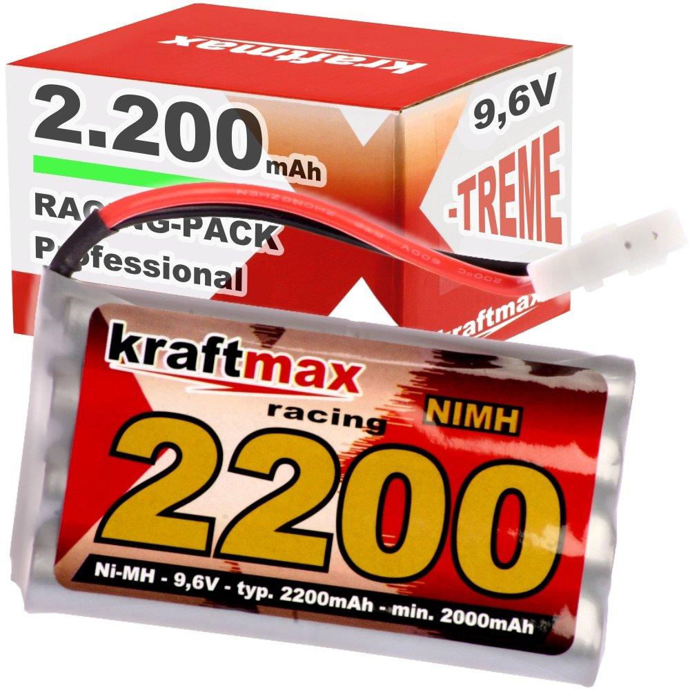 Kraftmax Akku Racing-Pack mit Tamiya Stecker - 9,6V / 2200mAh - NiMH Akku / Hochleistungs RC Akkupack