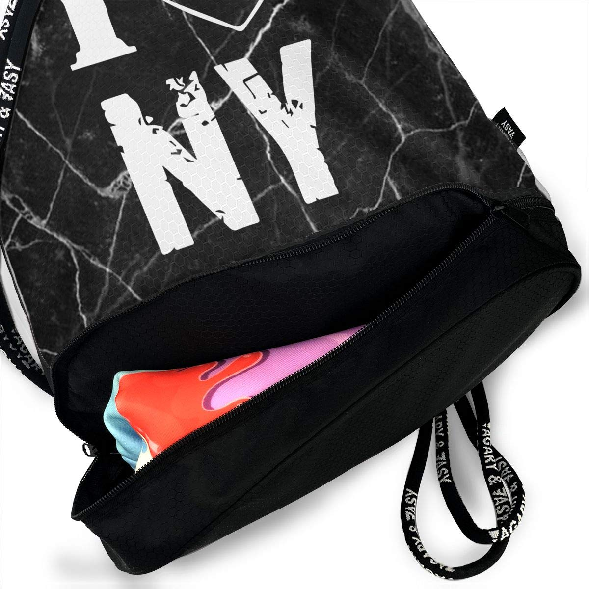 Drawstring Sports Backpack I Love NY Men Women Home Travel Shopping Shoulder Bags