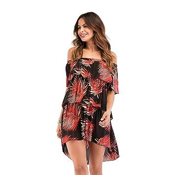 YAN Vestido de Mujer Vestido Informal para Mujer - Tallas Grandes Beach Boho Vestido Largo Estampado