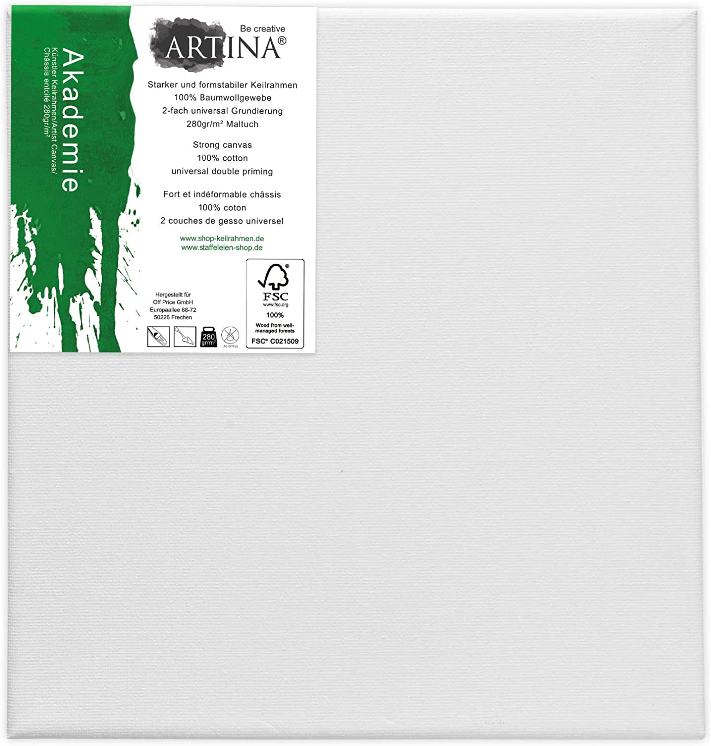 Stretched Artist Canvas Gouache Ideal for Painting with Acrylic Paints Mont Marte Canvas 20x20 cm Cotton Oil Paints Primed 280gsm White Pack of 5